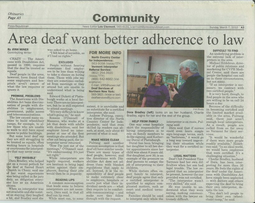 3 - Area deaf want better adherance to law
